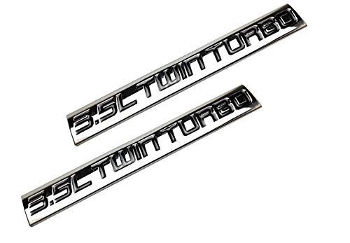 2pcs 3.5L Twin Turbo Nameplate emblems Finish Metal Badge Replacement For Trunk Hood Door (Chrome Black)