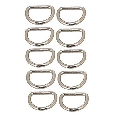 LAANCOO 10 PCS botón Anillos de Metal para Las Correas D manijas Bolsas Monederos Monedero Belting Leathercarft- Plata - Accesorios Principales 25 mm