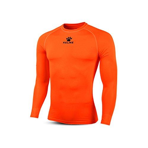 KELME Adult Thermical L/S - Maglietta Termica da Uomo, Uomo, K15Z705, Arancione Fluo, Nero, M