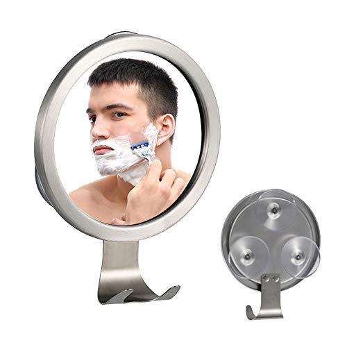 Ettori Shower Mirror Fogless for Shaving with Razor Holder, Powerful Lock Suction Fogless Mirror for Shower