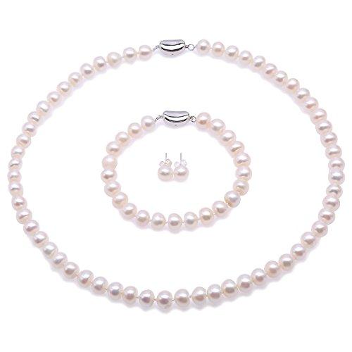 Set collana di perle Jyx–Parure collana, bracciale e orecchini in argento Sterling 925perle naturali d' acqua dolce pavone (blu e bianco) e Lega, colore: White, cod. FPS107