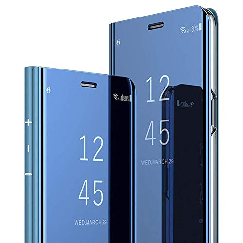 Miroir Coque Samsung Galaxy S10 Lite,Galaxy A91 Miroir Etui à Rabat Cuir,Clear View Placage Miroir Effet Folio Flip Case,JAWSEU Transparente Standing 360 Degrés Housse de Protection(Bleu)