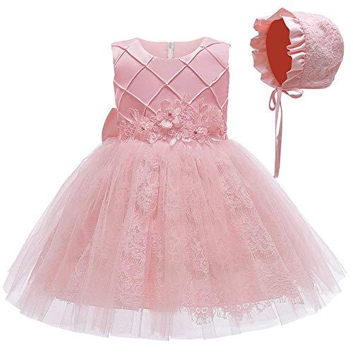 BAIDEFENG Vestido de nia de Las Flores Vestido sin Tirantes de Princesa para nios Vestidos para nios Vestido de beb Vestido de Fiesta Cumpleaos Bowknot Boda Tutu Princesa -Rosa_Los 80cm