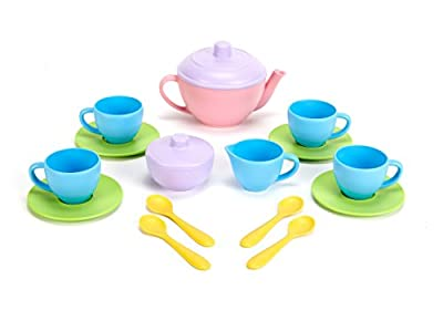 Green Toys Tea Set - BPA Free, Phthalates Free Play Toys for Gross Motor, Fine Skills Development. Kitchen Toys