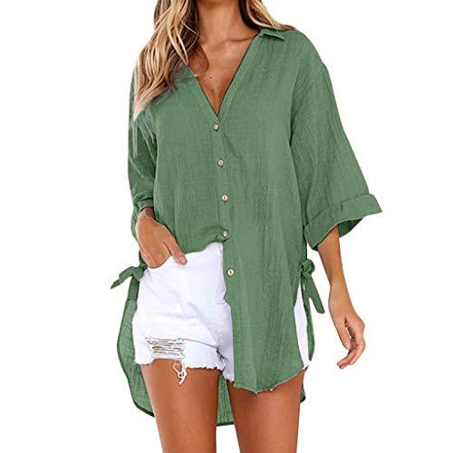 OverDose Damen Casual Übergröße Unregelmäßige Mode Lose Leinen Kurzarm Shirt Vintage Bluse Fest Hemd Lang Tank Tops T-Shirt Freizeit Oberteile Tees (EU-40/CN-M, A-z-Grün2)