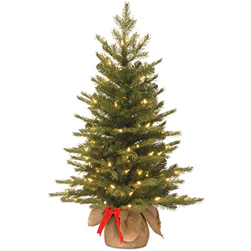 National Tree Company Pre-lit Artificial Mini Christmas Tree | Includes Small White LED Lights and Cloth Bag Base | Nordic Spruce Burlap - 3 ft