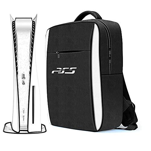 Mochila de viaje para computadora portátil para PS5, estuche de viaje con correa ajustable para el hombro, bolsa de almacenamiento protectora, mochila Oxford portátil para consola de juegos PS5