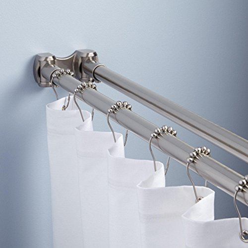 """Signature Hardware 939641-60 60"""" Solid Brass Double Shower Curtain Rod"""