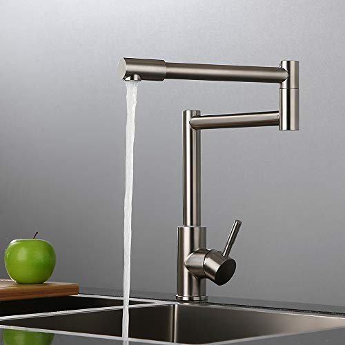 AUXO Modern Single Handle Single Hole Deck Mount Kitchen Sink Faucet with 360 Rotating Nozzle, Commercial Retractable Pot Filler Kitchen Faucet in Brushed Nickel, Stainless Steel
