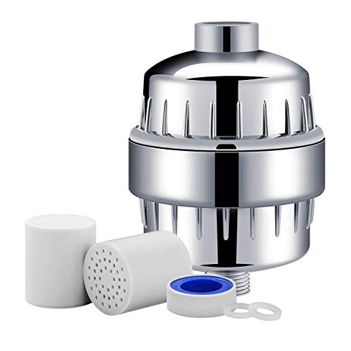 Aquamanan 10-Stage Shower Filter with 2 Cartridges - Universal Head Purifier Also Adds Vitamin C for Skin and Hair Health, Showerhead Filter High Output
