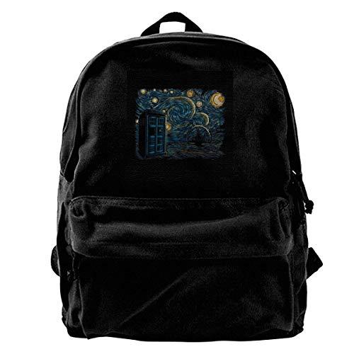 Canvas Rucksack Starry Gallifrey Doctor Who Tardis Van Gogh Rucksack Gym Wandern Laptop Umhängetasche Daypack für Männer Frauen