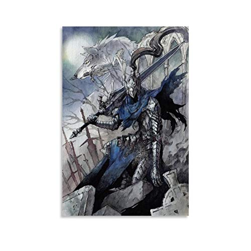 QWKM Póster del juego Dark Souls Wolf Knight Armor Poster decorativo pintura lienzo arte pared pared sala de estar dormitorio pintura 50 x 75 cm