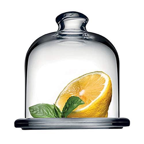 SWEET HOME Piatto in Vetro Trasparente per Dolci e Frutta con Cupola in Vetro Trasparente cod.SB00390LU cm 10,5h diam.10 by Varotto & Co.