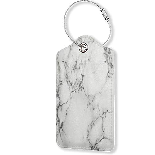 Marble Luggage Tags,PU Leather Name ID Labels with Privacy Cover for Travel Baggage Bag Suitcase(1pcs)