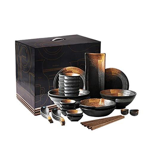 Ensembles Rétro Japonais Art De La Table,Mat Texture Bols/Assiettes/Plats For 2-6 Personnes,Noir Services de vaisselle (Taille : 38 pieces+Gift box)