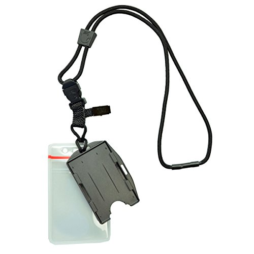 Heavy Duty (No Swing) Nylon Lanyard with Breakaway & Two Dual ID Badge Holders (Holds 4 ID Cards - Each Badgeholder Holds 2 Badges) Great for Military & Police by Specialist ID and EK USA (Black)