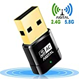 WiFi Adaptador 600mbps Wireless Network Receptor Banda Dual (5G/433Mbps + 2.4G/150Mbps) dongle USB de Alta Velocidad con Soporte para WPS,Soporte de Windows XP/Vista/7/8/10/(32/64bits)/Mac OS,Linux