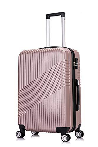 Frentree Hartschalen-Koffer 02 | Trolley Reisekoffer Handgepäck mit 4 Rollen M-L-XL-Set zum Auswahl, Koffer Standard Farbe:Rosa Gold, Koffer Standard Größe:M(55CM)