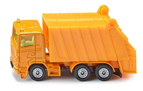 SIKU 0811, Müllwagen, Metall/Kunststoff, Orange, Spielzeugauto für Kinder, Kippbarer Müllbehälter