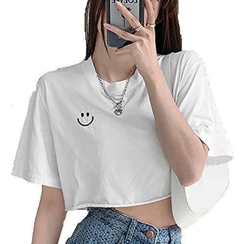 Cuello Redondo Camiseta Ombligo Niña Manga Corta Crop Camiseta con Blanco Patrón De Smiley Camiseta Cropped Mujer M