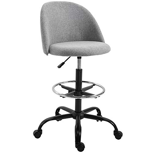 Vinsetto Ergonomic Rolling Drafting Chair for Standing Desk, Linen Office Stool with Adjustable Foot Ring and Steel Base