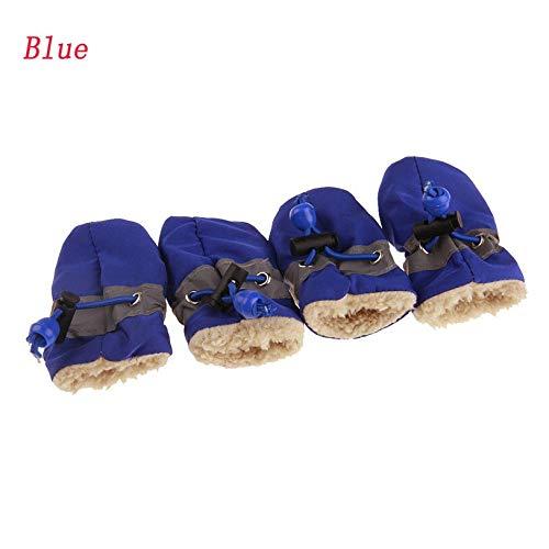JIUYUE 7 Maten Anti-slip Schoenen voor Honden 4 Stks/Set Warm Hond Laarzen Cashmere Hond Regenschoenen Puppy Sneakers Huisdier benodigdheden, 3, Blauw
