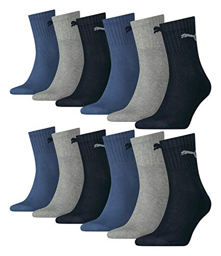 Calcetines deportivos Puma Unisex Short Crew Basic 12 unidades, tamaño: 39 – 42, color: azul marino/gris/azul oscuro (532)