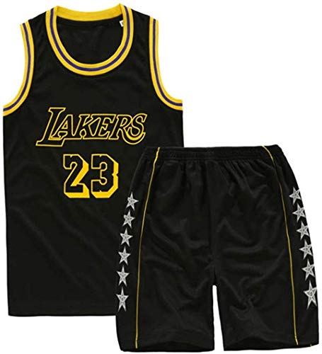 ZEH Angeles Lakers 23 LeBron James, ropa deportiva holgada y cómoda, para niños y niñas no se decoloran material de baloncesto (color: morado, tamaño: XL: FACAI (color: negro, talla: XL)