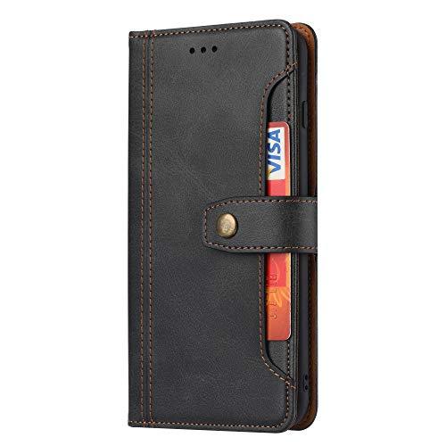 TOPOFU Funda para Samsung Galaxy A22 4G, [Vintage de Billetera Cuero de la PU] Carcasa Magnética con Tapa Abatible y Ranuras para Dinero y Tarjeta de Crédito-Negro