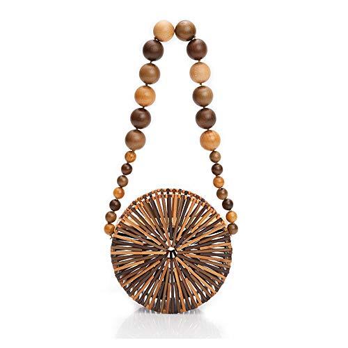 Mixed Color Round Bag Holiday Shoulder Bag Bamboo Basket Straw Bag Vintga Bamboo Handbag Handmade Tote Bag Handle Straw Beach Bag For Women