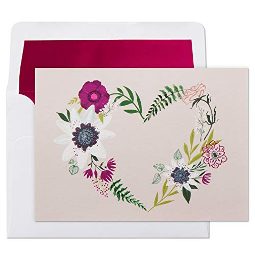 Hallmark Pack of 10 Blank Cards with Envelopes, Floral Wreath Heart (Thank You Cards, Valentines Day Cards, All Occasion Cards)
