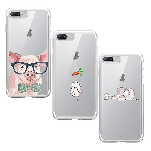 Suhctup Funda Compatible con iPhone 7/8 Silicona Transparente Case,Cárcasa 3 Pack con Dibujo Animado Lindo,Ultra Delgada de Gel Suave y TPU Bumper a Antigolpes Suave Cover(4)
