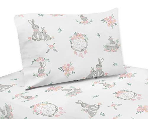 Sweet Jojo Designs Blush Pink and Grey Woodland Boho Dream Catcher Arrow Queen Sheet Set for Gray Bunny Floral Collection - 4 Piece Set - Watercolor Rose Flower