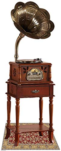 TYX-SS Record Player Vintage Turntable Gramophone Retro Bluetooth Speaker with Wireless Speakers CD Player/3.5Mm Aux-In/FM Radio