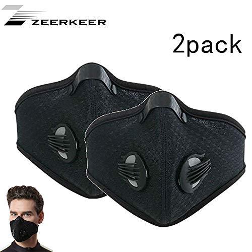 Zeerkeer Anti-Pollution gezichtsmasker stofmasker stofdicht masker fitnessmasker anti-pollen allergie anti-vervuilingsmasker geactiveerde koolstof filtratie uitlaatgas voor alle outdoor-activiteiten