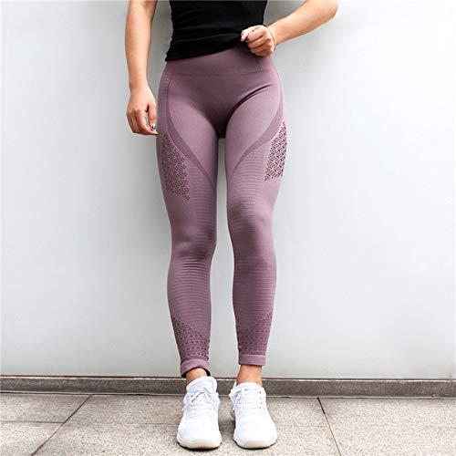 Mdsfe naadloze yogabroek voor dames, naaien, gymnastiek, panty's, leggings en fitness, holle loop, joggingbroek, sportswear Large paars A413
