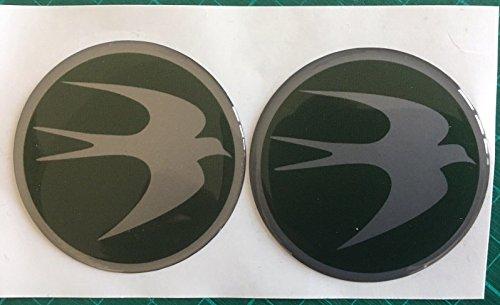 SCOOBY DESIGNS Swift Centre de roue Cap pour caravane circulaire Bird Logo badge 60 mm Vert et argent X2