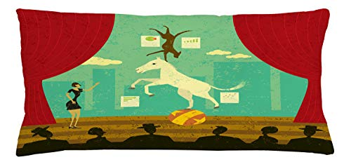 ABAKUHAUS Circus Throw Pillow Cushion Cover, Circus Show of Pony and Hound Dog with Assistant at Theatre Stage and Audience Theme, Decorative Square Accent Pillow Case, 36 X 16 Inches, Multicolor
