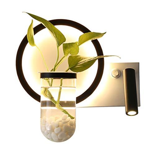 Lámpara de Pared de Lectura LED, Apliques para lectura, Lámpara De Pared con Interruptores, Foco de ajuste de rotación de 180° Aluminio acrílico Luz de Mesilla de Noche para dormitorio oficina,3000k