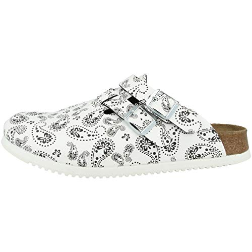 Kay Clogs Zuecos Zappatos Mujer Supergrip Paisley Black/White