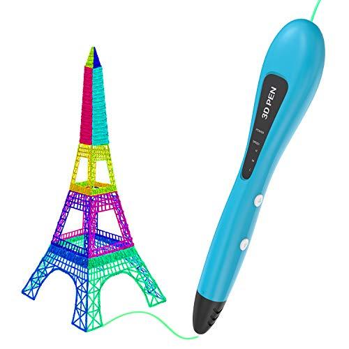 Gvoo – Penna 3D,Penna di stampa 3D versione aggiornata, con alimentazione USB intelligente, con 3 modalità di velocità, compatibile con filamento PCL da 1,75 mm
