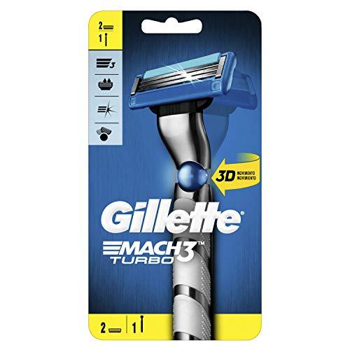 Gillette Mach3 Turbo Maquinilla de afeitar para hombre – 2 cuchillas, con cuchillas más fuertes que el acero