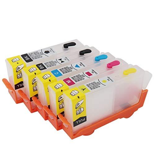WSCHENG Cartucho de Tinta 5pcs para HP364 para HP 364 XL para HP Pro 5520 5524 6510 6520 7510 B109 B110 B209 B210 C309 C310 D5460 con fichas