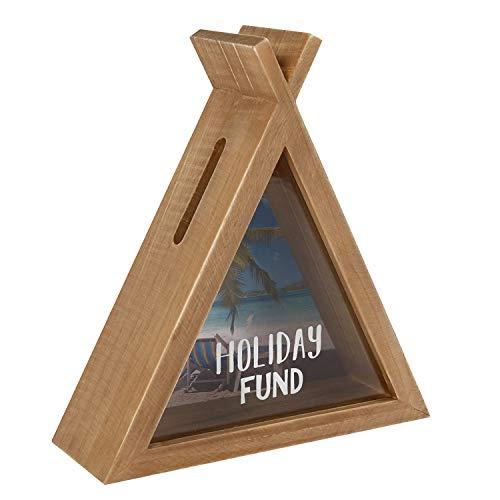 Haus der Herzen Spardose Sparbüchse Zelt Holiday Fund Holz mit Glasscheibe Sparschwein Holz-Natur