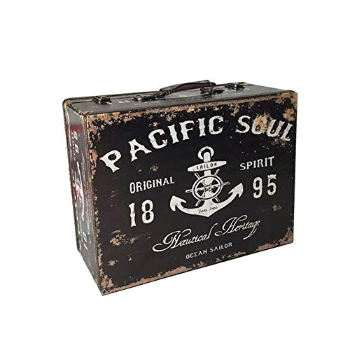 Caja de Almacenamiento Vintage Maleta Vintage Antigua Maleta Estilo Retro Cuero Decoración para el hogar Fiestas Decoración de Bodas Exhibiciones Artesanías (Color : Negro, tamaño : 44×33×16cm)