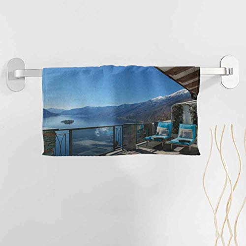 alisoso Travel Best Towels 14x14 Inch Long Seats in Terrace with Lake Sea View Summer Holiday Theme Art Print Towel Baby Bath Towel Pattern Towel