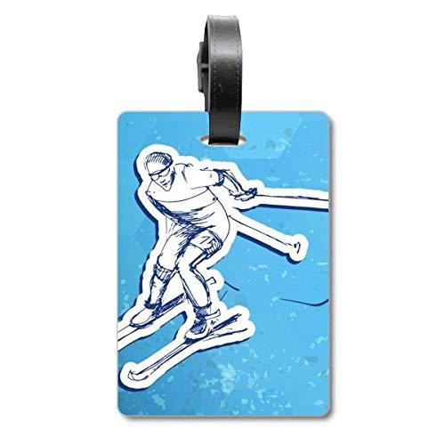 Etiqueta de identificación para Maleta de esquí con ilustración de acción de Invierno
