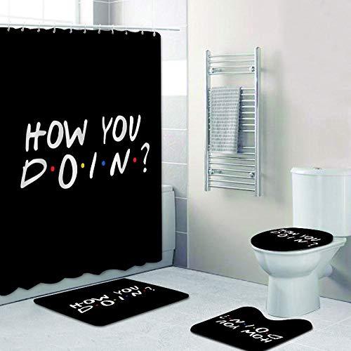 KEAINIDENI Badmat, personaliseerbaar, Ich bin da, douchegordijn, waterdicht, 4 stuks, badmat, wc-mat, badmat, voor decoratie thuis, cadeau
