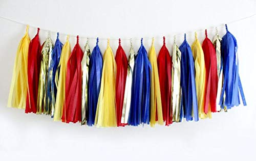 4 Pack 20 Pcs 14 inch Red, Yellow, Blue, Gold Tissue Paper Tassel Garland- Animal Paw Party Decor?Wedding, Birthday, Bridal Shower, Baby Shower, Party Decorations