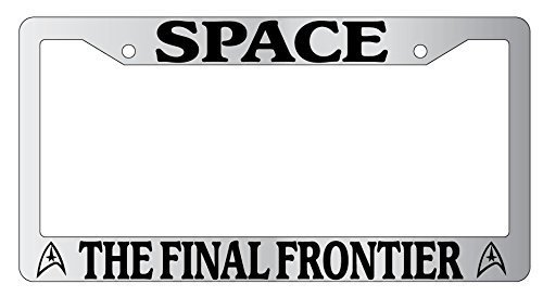 UTF4C Car License Plate Cover, Frames Space The Final Frontier Chrome Metal License Plate Frame Star Trek, Auto Car Accessories, 12x6 inches